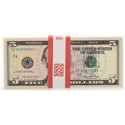 Pack of (100) Consecutive 2006 $5 Federal Reserve STAR Notes