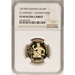 1977FM Guyana $100 Gold Coin El Dorado Golden Man NGC PF69 Ultra Cameo