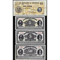 Lot of (4) State of Sonora Mexico Revolutionary Mixed Notes