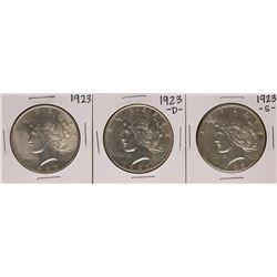Lot of 1923, 1923-D, & 1923-S $1 Peace Silver Dollar Coins