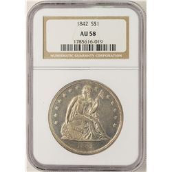 1842 $1 Seated Liberty Silver Dollar Coin NGC AU58