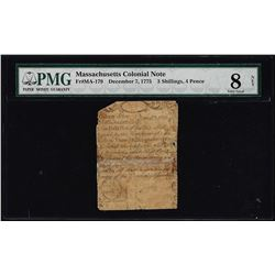 December 7, 1775 Massachusetts 3 Shillings 4 Pence Colonial Note PMG Very Good 8 Net