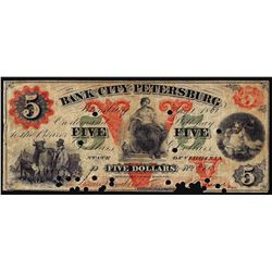 1861 $5 The Bank of the City of Petersburg Obsolete Note