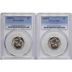 Lot of 1949-D & 1950-D Jefferson Nickel Coins PCGS MS66