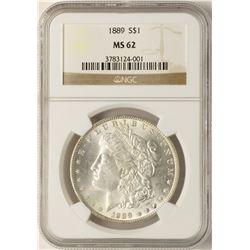 1889 $1 Morgan Silver Dollar Coin NGC MS62
