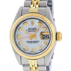 Rolex Ladies Two Tone 14K MOP Diamond 26MM Datejust Wristwatch