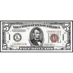 1934A $5 Hawaii WWII Emergency Issue Federal Reserve Note