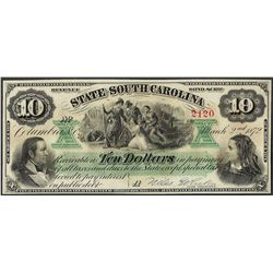 1872 $10 State of South Carolina Obsolete Note