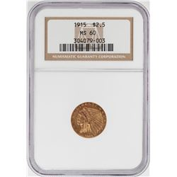 1915 $2 1/2 Indian Head Quarter Eagle Gold Coin NGC MS60