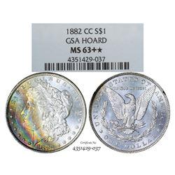 1882-CC $1 Morgan Silver Dollar Coin GSA Hoard NGC MS63+ Star Amazing Toning