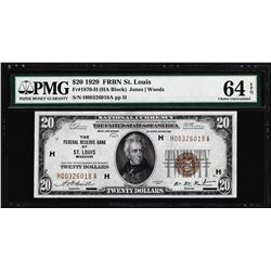 1929 $20 Federal Reserve Note St. Louis Fr.1870-H PMG Choice Uncirculated 64EPQ