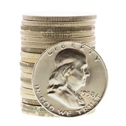 Roll of (20) Brilliant Uncirculated 1958-D Franklin Half Dollar Coins