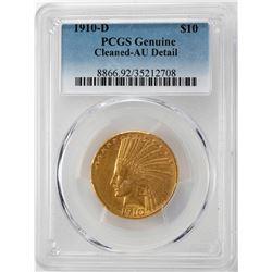 1910-D $10 Indian Head Eagle Gold Coin PCGS AU Details