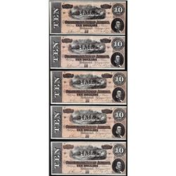 Lot of (5) Consecutive 1864 $10 Confederate States of America Notes