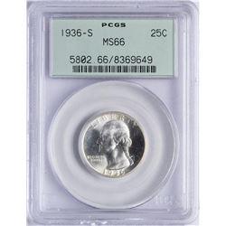 1936-S Washington Silver Quarter Coin PCGS MS66