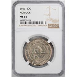 1936 Norfolk Bicentennial Commemorative Half Dollar Coin NGC MS64