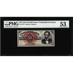 March 3, 1863 50 Cent Fourth Issue Lincoln Fractional Currency Note PMG About Unc. 53