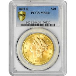 1892-S $20 Liberty Head Double Eagle Gold Coin PCGS MS64+