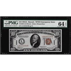 1934A $10 Federal Reserve WWII Emergency Hawaii Note Fr.2303 PMG Choice Uncirculated 64EPQ