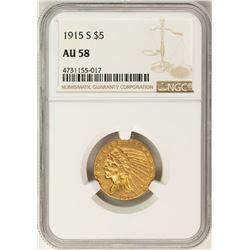 1915-S $5 Indian Head Half Eagle Gold Coin NGC AU58