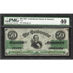 1861 $50 Confederate States of America Note T-16 PMG Extremely Fine 40