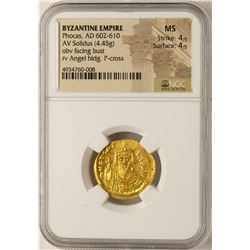 AD 602-610 Phocas Byzantine Empire Solidus Ancient Gold Coin NGC MS