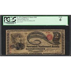 Original Lazy Deuce $2 Second NB of Providence, RI CH#4149 National Note PCGS Good 6