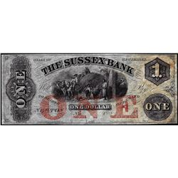 1800's $1 The Sussex Bank New Jersey Obsolete Note