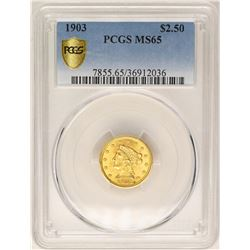 1903 $2 1/2 Liberty Head Quarter Eagle Gold Coin PCGS MS65
