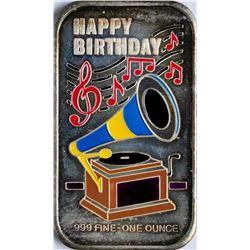 Happy Birthday Enamel Silver Art Bar