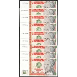 Lot of (9) 1987 Peru Cincuenta Intis Uncirculated Bank Notes