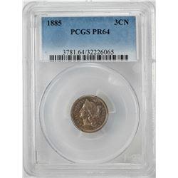 1885 Proof Three Cent Nickel Coin PCGS PR64