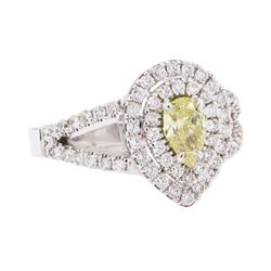 14KT White Gold 1.22 ctw Yellow and White Diamond Ring