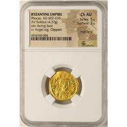 AD 602-610 Phocas Byzantine Empire Solidus Ancient Gold Coin NGC Choice AU