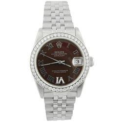 Rolex Ladies Datejust Stainless Steel 31mm Chocolate Roman Diamond Dial Watch