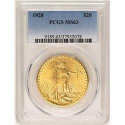1928 $20 St. Gaudens Double Eagle Gold Coin PCGS MS63
