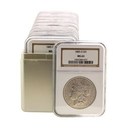 Lot of (20) 1885-O $1 Morgan Silver Dollar Coins NGC MS63