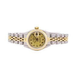 Rolex Ladies Oyster Perpetual Datejust Stainless Steel & 18KT Yellow Gold  Wristwatch