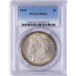 1896 $1 Morgan Silver Dollar Coin PCGS MS63
