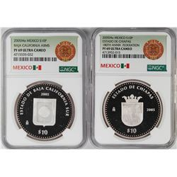Lot of (2) 2005Mo Mexico Proof 10 Pesos Silver Coins NGC PF69 Ultra Cameo