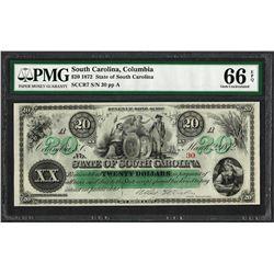 1872 $20 State of South Carolina Revenue Bond Obsolete Note PMG Gem Uncirculated 66EPQ