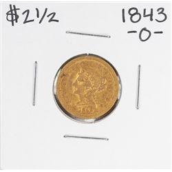 1843-O $2 1/2 Liberty Head Quarter Eagle Gold Coin