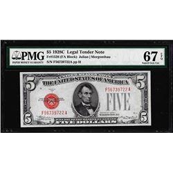 1928C $5 Legal Tender Note Fr.1528 PMG Superb Gem Uncirculated 67EPQ