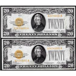 Lot of (2) 1928 $20 Gold Certificate Note