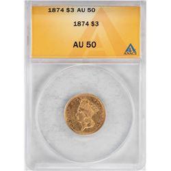 1874 $3 Indian Princess Head Gold Coin ANACS AU50