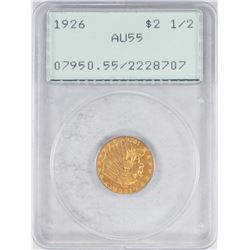 1926 $2 1/2 Indian Head Quarter Eagle Gold Coin PCGS AU55 Old Green Rattler