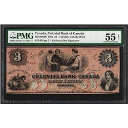 1859 $3 Colonial Bank of Canada Note PMG About Uncirculated 55EPQ