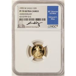 1995-W $5 American Gold Eagle Proof Coin NGC PF70 W/Edmund C. Moy Signature