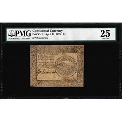 April 11, 1778 $4 Continental Currency Note Fr. CC-71 PMG Very Fine 25