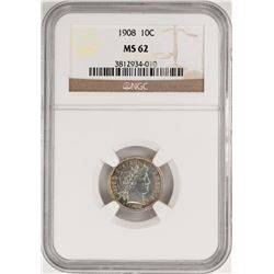 1908 Barber Dime Coin NGC MS62